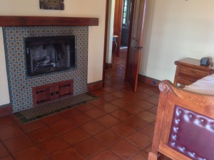 stained ceramic tile floor
