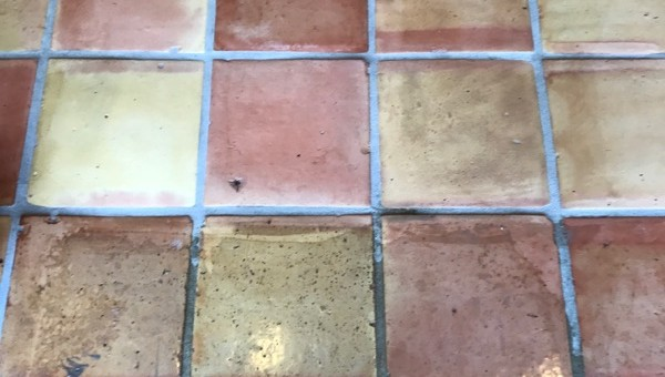 half stripped saltillo tiles