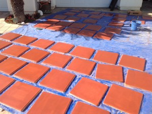 saltillo pavers stained