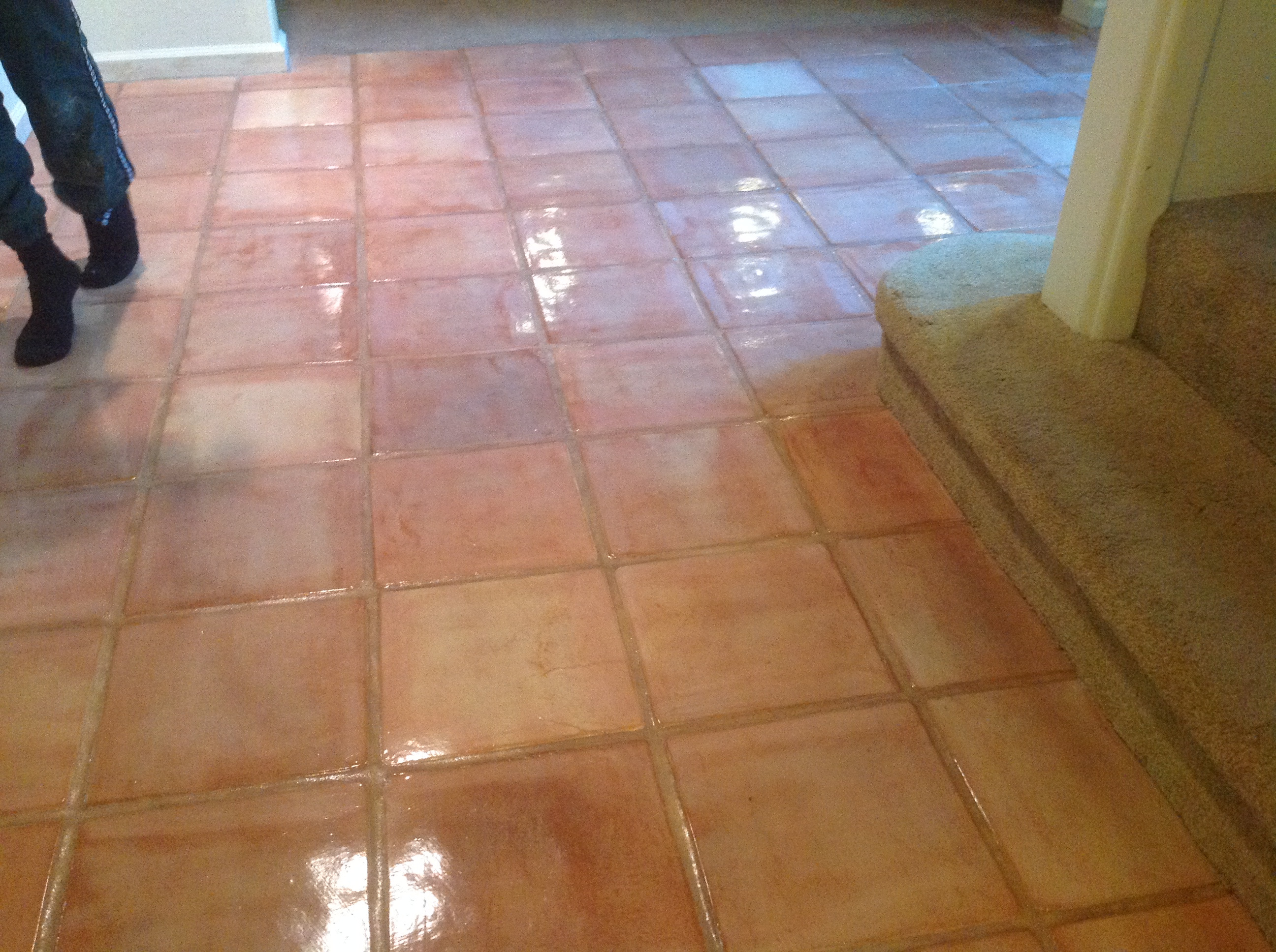 Custom stained terra cotta pavers california tile restoration custom stained white wash saltillo tiles dailygadgetfo Images