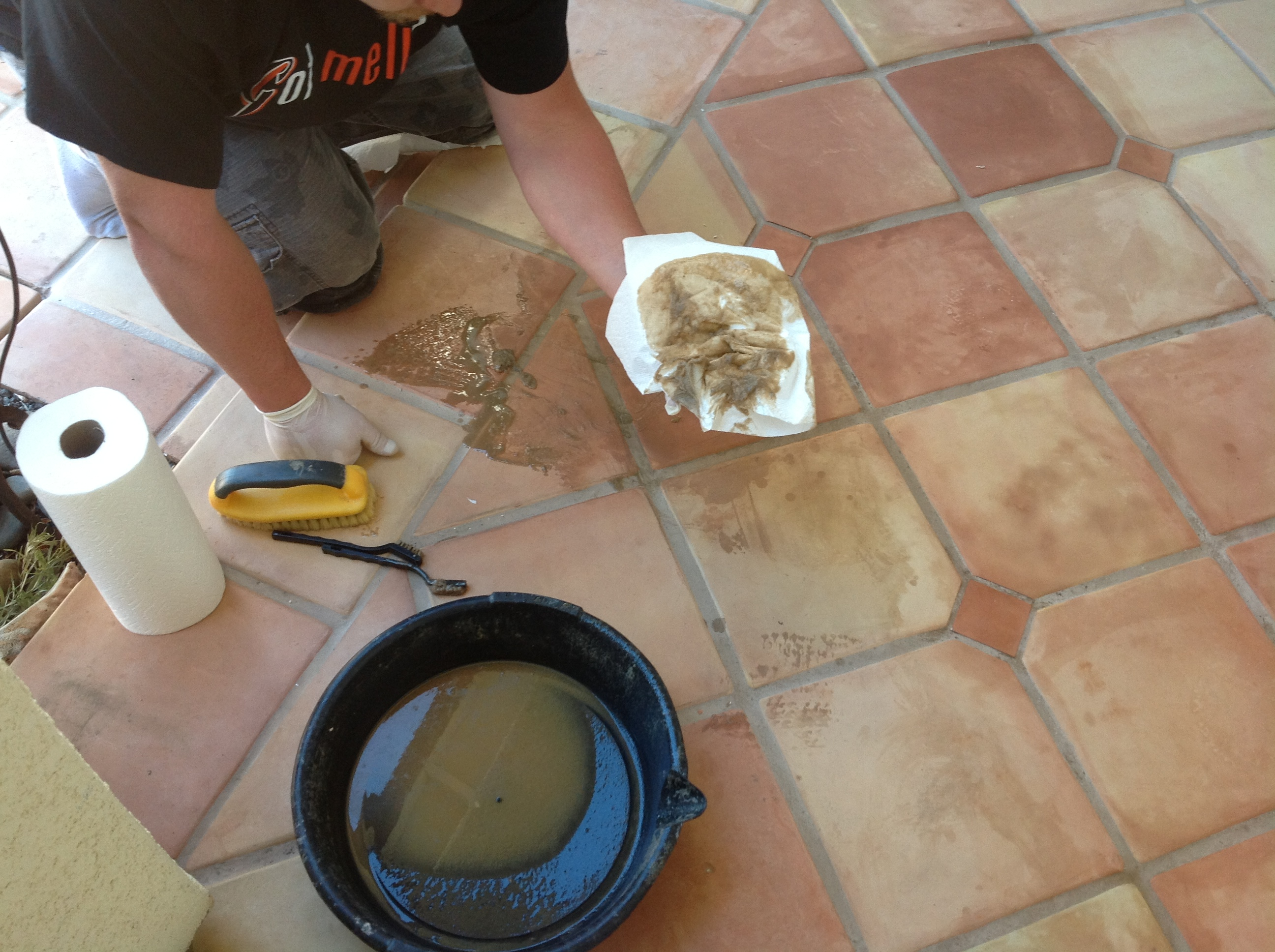 Superior saltillo tile floor refinishing restoration without messy saltillo tile strip california dailygadgetfo Gallery