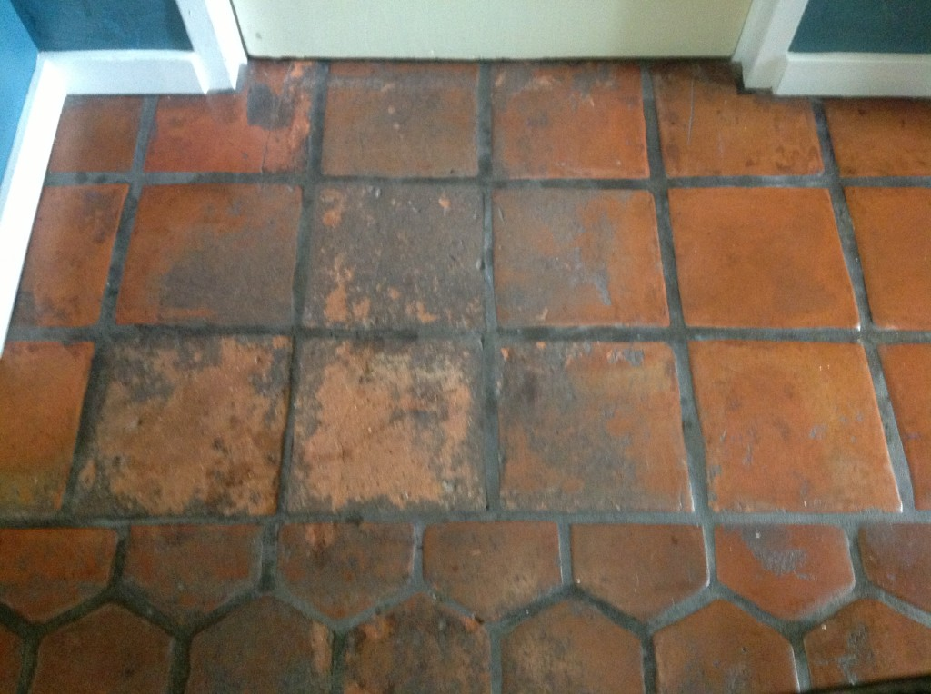 how to clean blood off tile floor