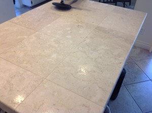low shine marble tile countertop