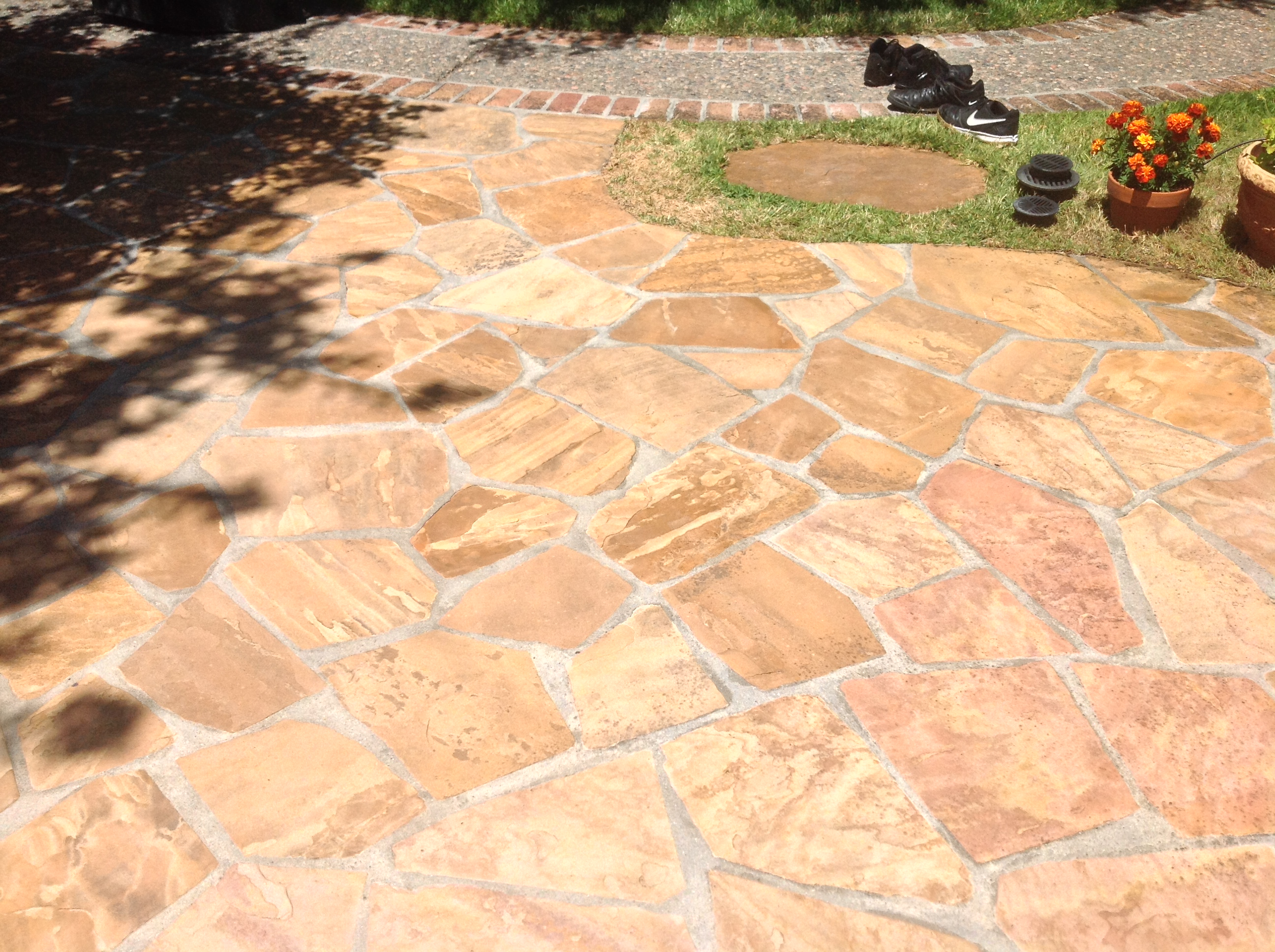 Flagstone Patio Red Enhanced Natural Stone Restoration