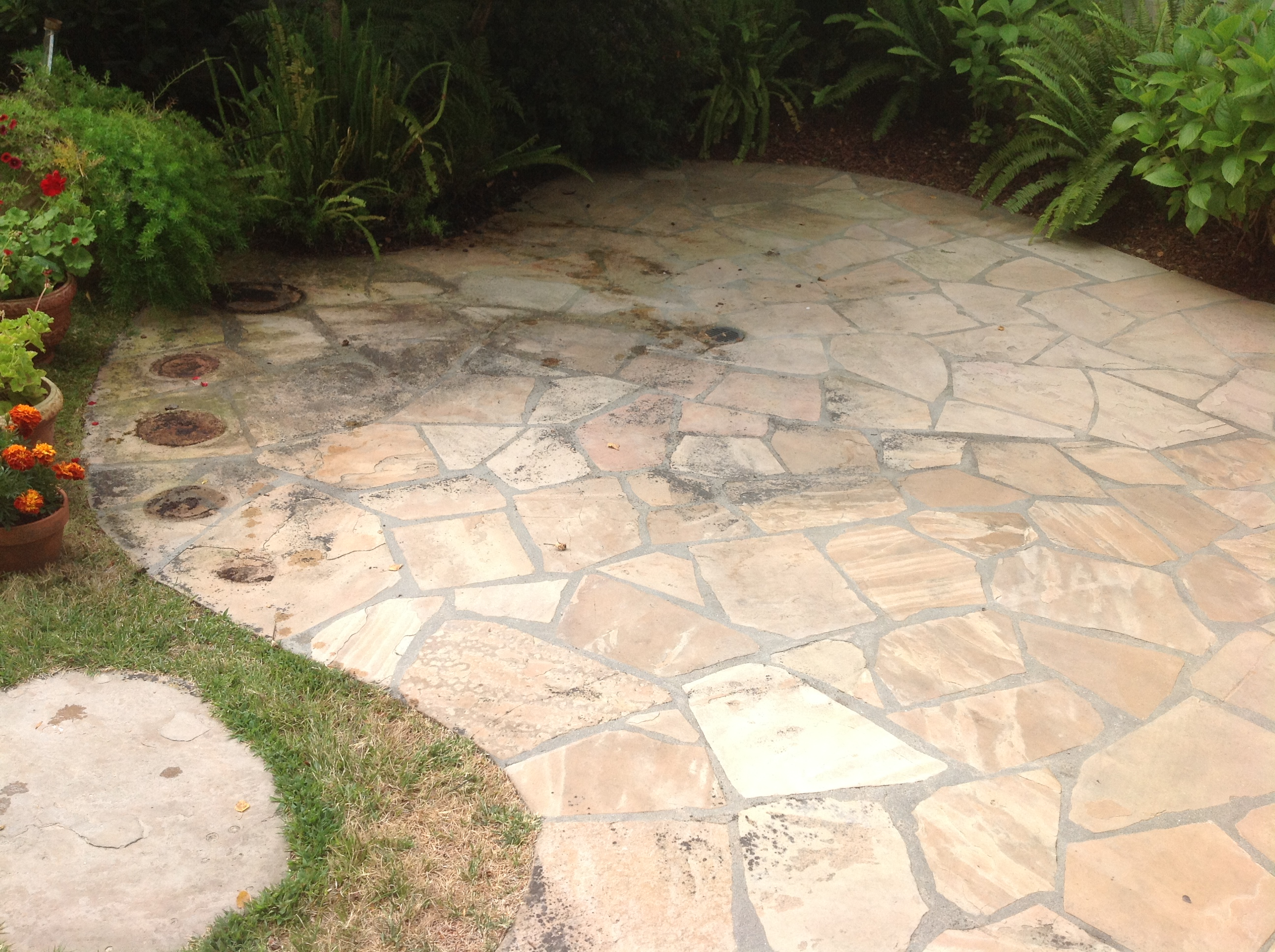 Attrayant Flagstone Mold Algae Improperly Sealed Flagstone Flagstone Patio Dirty  Natural Stone Patio