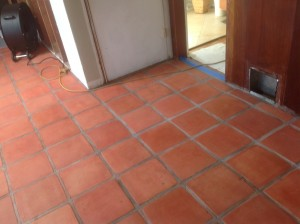 stained raw saltillo tile
