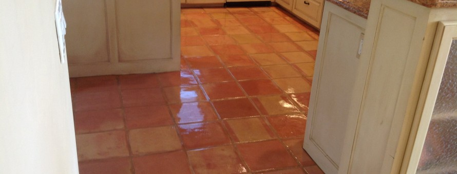 shiny sealed saltillo tile