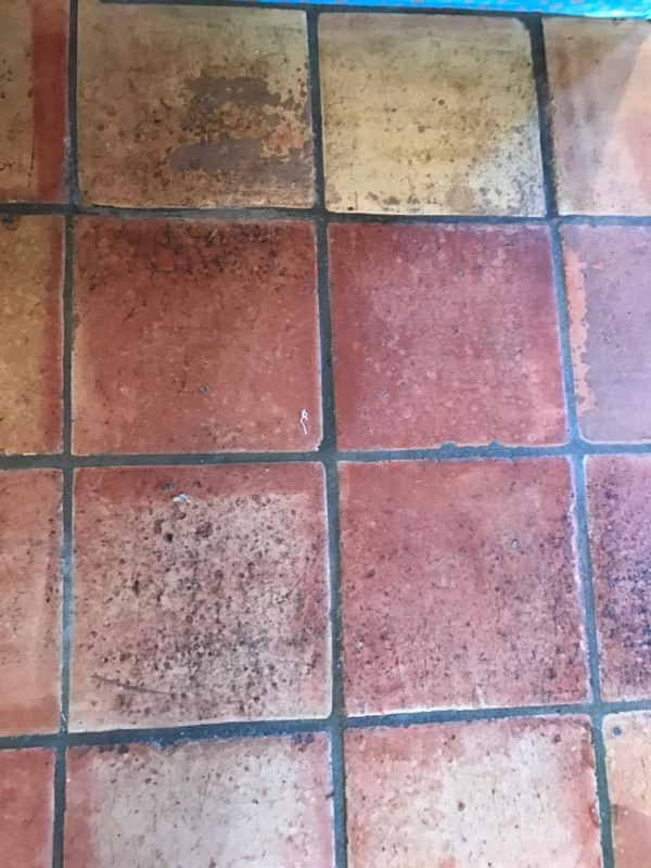 deteriorating saltillo tile floor