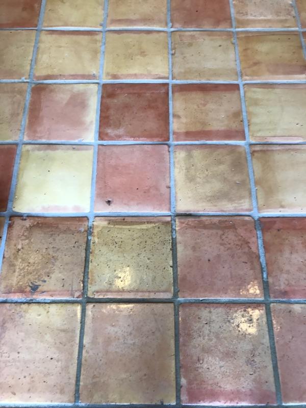 half stripped saltillo tiles